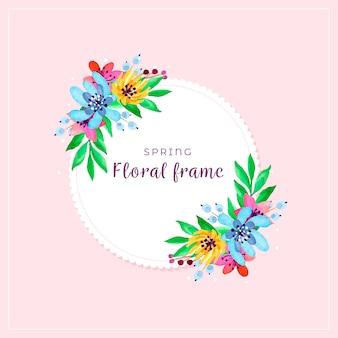 Cadre coloré floral printemps aquarelle