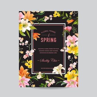 Cadre coloré floral vintage - fleurs de lys aquarelle - pour invitation, mariage, carte de douche de bébé