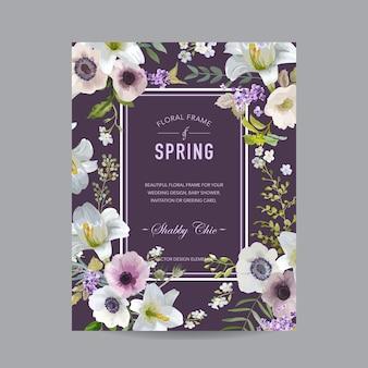 Cadre coloré floral vintage - lys et anémones - pour invitation, mariage, carte de douche de bébé