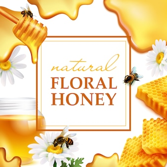 Cadre coloré miel naturel floral