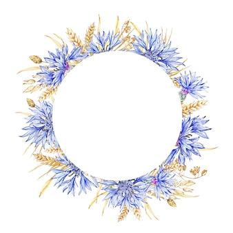Cadre composé de fleurs sauvages de bleuets et de fleurs séchées.