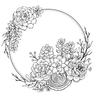 Cadre avec composition dessinée à la main de plantes succulentes sur fond blanc. cadre graphique noir et blanc pour impression, livre de coloriage, carte d'invitation.
