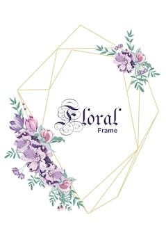 Cadre de conception géométrique florale. carte de mariage style art déco dessin au trait or tous les éléments sont isolés et modifiables.