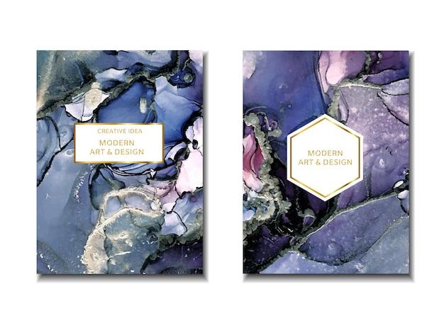 Cadre de conception d'invitation de mariage à la mode texture marbrée aquarelle alcool encre splash liquide débit te ...