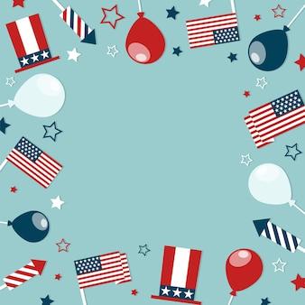 Cadre conceptuel du 4 juillet avec attributs festifs.