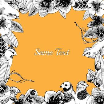 Cadre de contour dessiné main avec oiseaux et fleurs