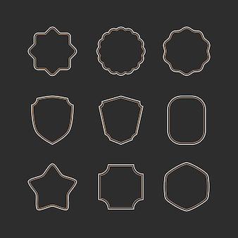 Cadre de contour élégant et vintage et ensemble de bordures de badges