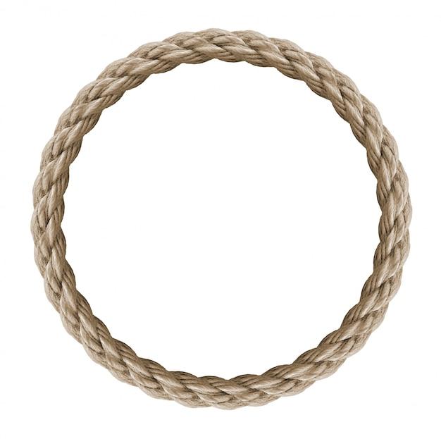 Cadre de corde de cercle - boucle de corde sans fin isolée sur blanc, y compris un tracé de détourage