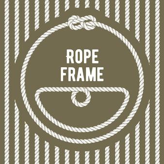 Cadre de corde ronde rétro avec noeud sur fond rayé