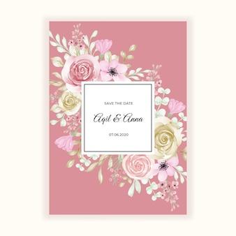 Cadre de couleur pastel belle fleur pour invitation de mariage