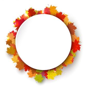 Cadre de couleur rond de l'automne avec des feuilles d'érable.