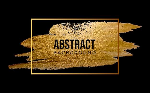 Cadre de coup de pinceau doré abstrait