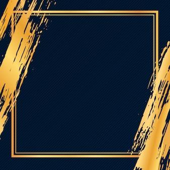 Cadre de coup de pinceau grunge de luxe doré sur fond sombre