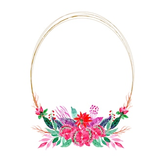Cadre de couronne aquarelle floral