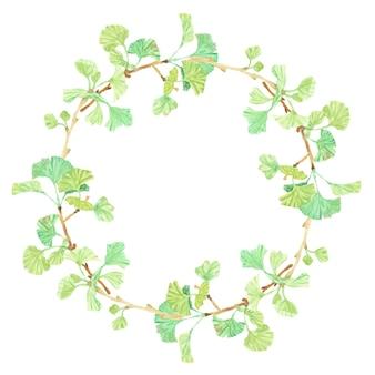 Cadre de couronne de cercle de branche de ginkgo dessiné à la main aquarelle