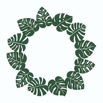Cadre de couronne de cercle rond de forêt tropicale de jungle tropicale exotique feuilles de monstera vert vif