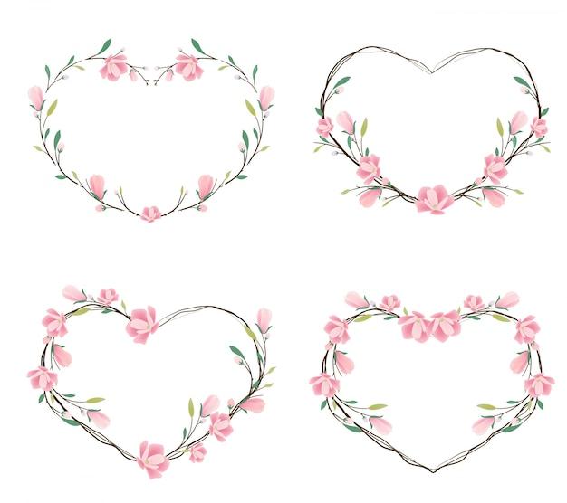 Cadre de couronne coeur magnolia rose