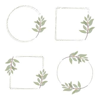Cadre de couronne d'eucalyptus dessiné main minimal.