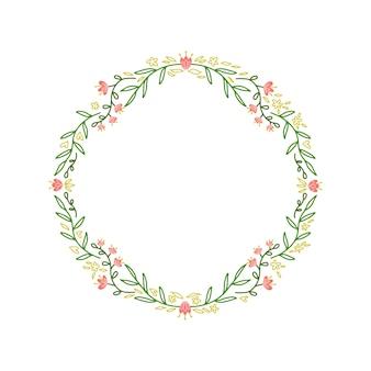 Cadre de couronne avec des feuilles et des branches.