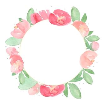 Cadre de couronne de fleurs aquarelle pivoine rouge et rose en vrac