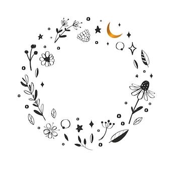 Cadre de couronne florale éléments de doddle botaniques dessinés à la main