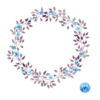 Cadre de couronne florale avec des fleurs et des feuilles
