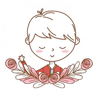 Cadre de couronne florale pour le dessin animé garçon tenue costume portrait