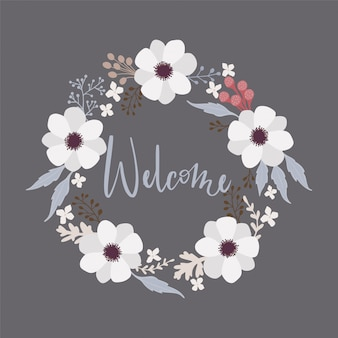 Cadre couronne florale ronde avec calligraphie welcome