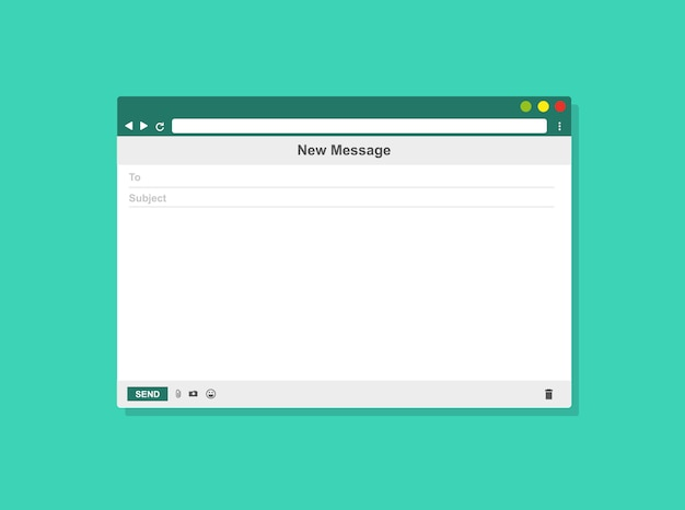 Cadre de courrier électronique modèle vierge e-mail, illustration vectorielle