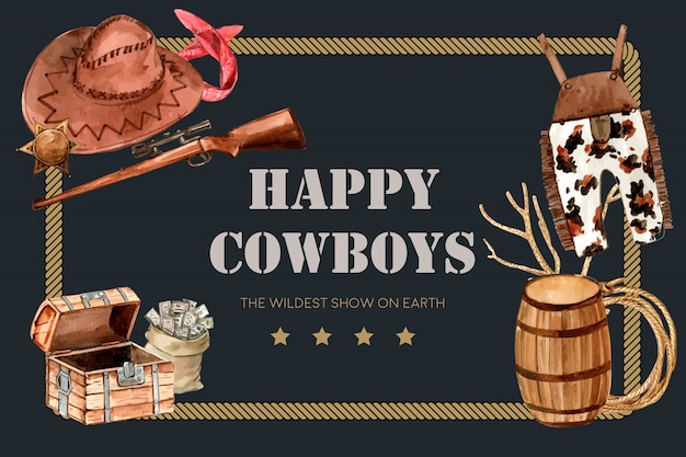 Cadre cowboy avec arme à feu, chapeau, salopette