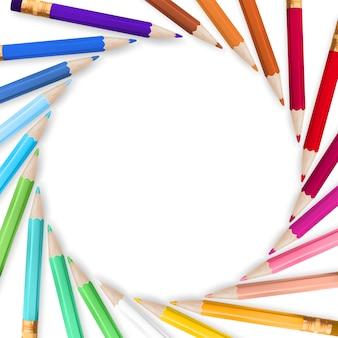 Cadre avec crayons de couleur.