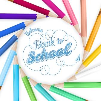 Cadre avec des crayons de couleur.