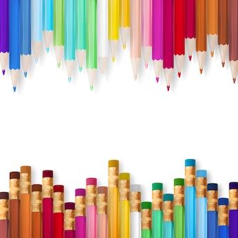 Cadre de crayons multicolores.