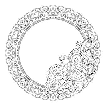 Cadre dans la tradition orientale. mandala de fleurs stylisées dans le style mehndi.
