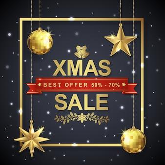 Cadre de modèle de bannière de vente de Noël et étoiles suspendues