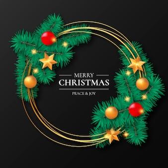 Cadre de Noël doré avec ornements