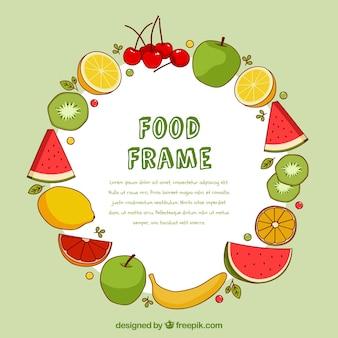 Cadre de nourriture avec des fruits dessinés à la main