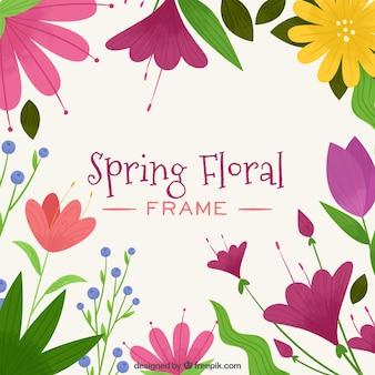 Cadre de printemps floral avec des couleurs roses