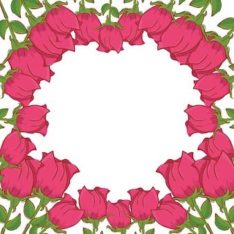 Cadre décoratif de belles fleurs roses