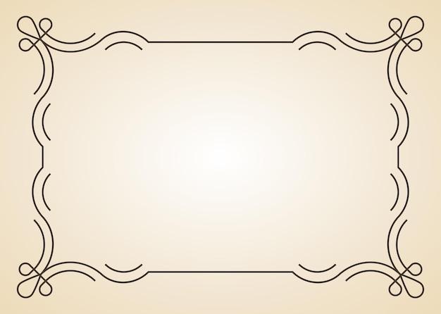 Cadre décoratif. bordure antique calligraphique vintage. ornements floraux en filigrane de cadre de rectangle de calligraphie orné pour le modèle de certificat encadré.