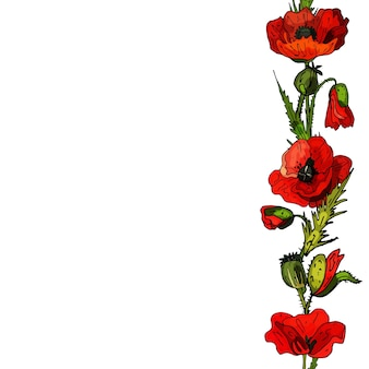 Cadre décoratif de coquelicots invitation de carte de voeux délicate pour mariage et anniversairecopy space