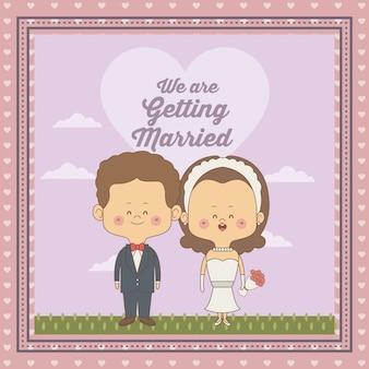 Cadre décoratif du couple juste marié mariée et le marié avec des cheveux bruns ondulés