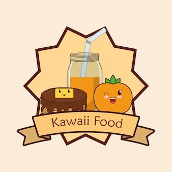 Cadre décoratif et ruban avec de la nourriture kawaii