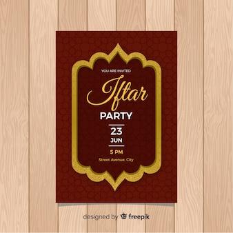 Cadre décoratif d'invitation de fête plat iftar
