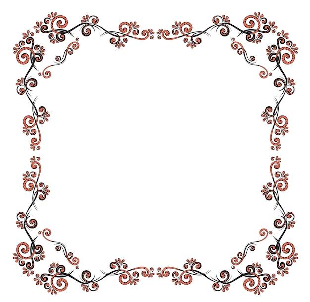 Cadre décoratif avec motif floral. modèle pour les cartes de vœux, les récompenses et les invitations de mariage.