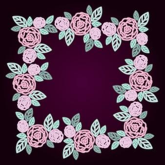 Cadre décoratif neon floral roses