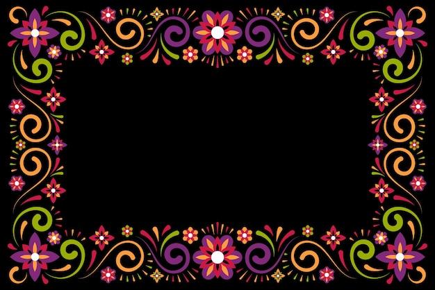 Cadre décoratif d'ornement floral mexicain sur fond noir