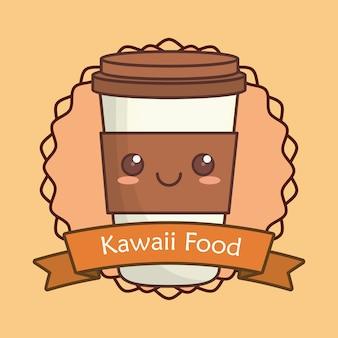 Cadre décoratif et ruban avec tasse de café kawaii