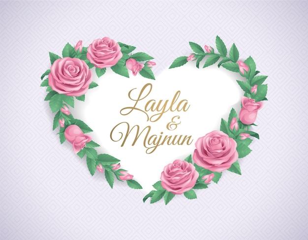 Cadre de décoration fleur rose rose