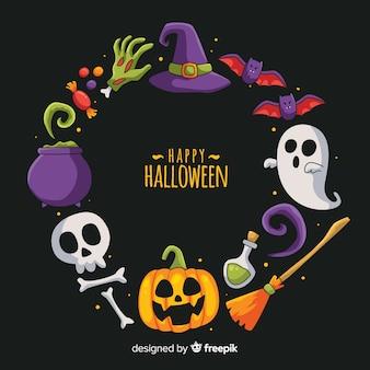 Cadre de décoration halloween dessiné à la main